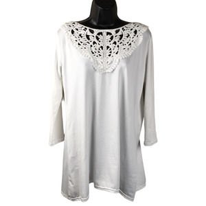 Blooming Jelly Top Crochet Knit 3/4 Sleeve White L
